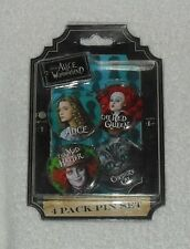 NEW Disney Alice in Wonderland 4 Pack Pin Set Red Queen Mad Hatter Cheshire Cat