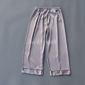 Men Silky Satin Pyjama Bottoms Capri Pants Loungewear Sleepwear pjs Shorts