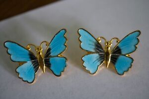 2 Vintage Gold Tone Blue Enameled Butterflies Pin Brooches