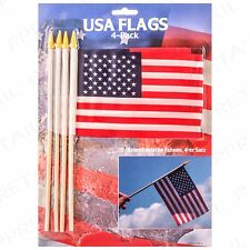 "4 x USA FLAG ON WOODEN STICK 6"" x 4"" Small Hand Waving American/America/U.S.A"