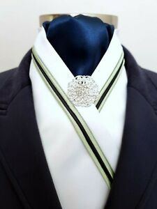 ERA Siena White Stock Tie with Navy & Lime Green Triple Piping and Brooch