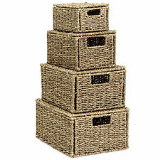 4PC Set Natural Woven Seagrass Storage Organizer Baskets Lids Handles Home Decor