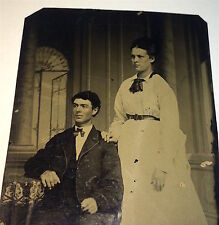 Antique Victorian American Couple Handsome Seated Man Fashion Lady Tintype Photo