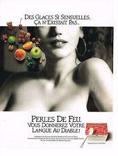 PUBLICITE ADVERTISING 074  1990   PERLES DE FEU  desserts yaourts aux fruits
