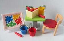 Playmobil dollshouse/school furniture: Table with drawing & painting items NEW