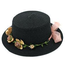 Women Summer Straw Boater Hat Beach Round Top Caps Wedding Flower Garland Band