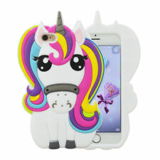For iPhone 4 SE 5 6 7 8 Plus XR Cute 3D Unicorn Cartoon Silicone Case Cover Skin