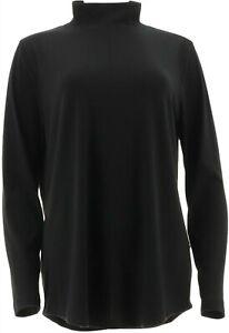 Isaac Mizrahi SOHO Long Slv Mock Neck Tunic Black S # A299490