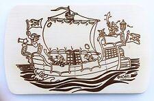 Frühstücksbrettchen Frühstücksbrett Gravur Piraten Schiff Vesper Holz Namen  neu