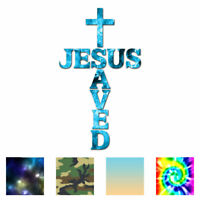 Jesus Saved Christian Cross - Decal Sticker - Multiple Patterns & Sizes ebn3982
