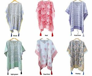 Indian Cotton Boho Caftan Hippie Night Dress Kaftan Beach Wear Poncho Short Maxi