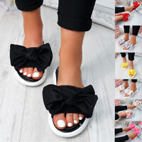 Women Flat Sliders Bow Slippers Slip on Ladies Sandals Beach Espadrille Shoes UK