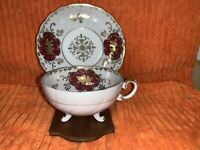 Vintage Royal Sealy Maroon, Gold, White Swirl Floral Cup & Saucer