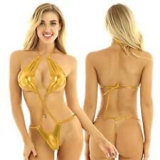 Women Micro Bikini Bra Wetlook Metallic One Piece Monokini Thongs Bodysuit Teddy