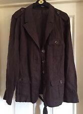 George 100% Linen Brown Belted Jacket, Size 12 - Lovely!