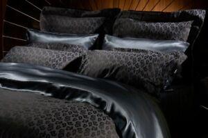 Agent Provocateur midnight silk mix leopard pillow case PAIR shams Oxford new