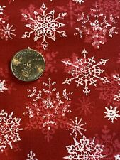 Christmas Snowflake Red Cotton Fabric 1 Yd