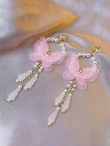 🦋 New Pink Butterfly Dangle Earrings Rhinestones & Faux Pearls Gold Tone 🦋