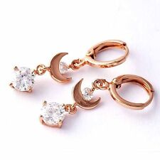 Solid Rose Gold Filled Clear CZ Moon Dangle Drop Earrings For Womens Girl