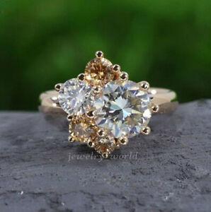 Rose Gold Over 2.46Ct White Genuine Moissanite Engagement Fancy Ring Anniversary