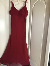 Beautiful Red Full Length Gown / Party Dress Fully Lined Size 16