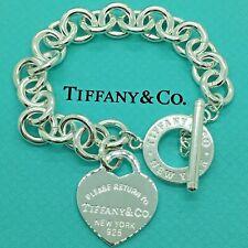Sterling Silver Pulsera CORAZÓN CIERRE PASADOR AG 925 Genuine Tiffany & Co. bag
