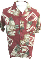CARIBBEAN JOE Men Hawaiian ALOHA shirt pit to pit 22.5 camp floral luau rayon M