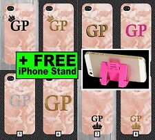 Pink Marble Phone Case with Initials +FREE iPhone Stand Personalised 5 6 7 5c +