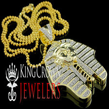 King Tut Tutankhamun Pendant Gold G/P Lab Diamond Egyptian Pharaoh Charm Chain