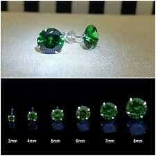 EMERALD GREEN 925 SOLID STERLING SILVER CUBIC ZIRCONIA ROUND STUD EARRINGS