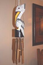 (1) Hand Crafted Wood Pelican Windchime, Louisiana State Bird Decor, Pelican