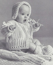 Knitting PATTERN to make Baby Layette Sacque Sweater Hat Bonnet Booties Blanket