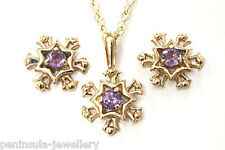 9ct Gold Amethyst Pendant Necklace and Earring Set Gift Boxed Made in UK
