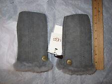 UGG Gloves Fingerless Mittens Sheepskin Shearling L/XL Gray NEW