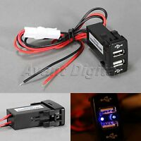 Car Dual USB Port Charger Phone PDA DVR  Input 12V 2.1A For Toyota VIGO