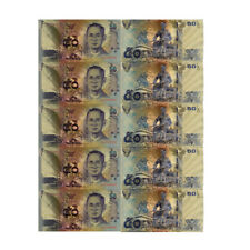 5pcs 50 Baht Colored Thailand Gold Banknote Gold Foil Banknote Gift World Money
