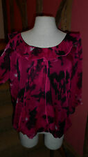 UK 16 Abstract Print ¾ Sleeve Blouse in Cerise & Black Polyester,  Per Una M & S