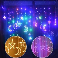 Twinkling Star Moon LED Curtain Fairy String Lights Xmas Window Wedding Decor UK