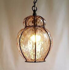 VINTAGE BLOWN PINK GLASS PENDANT CEILING LIGHT - WROUGHT IRON CAGED HALL LIGHT