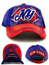 New York NY New Leader Vintage Giants Colors Blue Red Era Strapback Dad Hat Cap