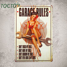 Garage Rules Pin Up Girl Sign Great tool sign for the Garage sign wall decor