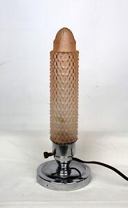 Spezielle Art Deco Nachtischlampe um 1930 - Nickel / Glas  - 30er Jahre