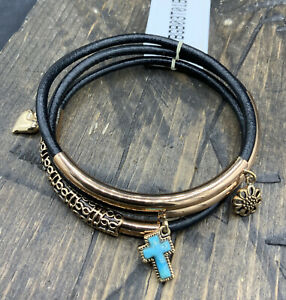 Barse PeaceTime Bangle Bracelets-Set Of 3- Leather & Turquoise-NWT