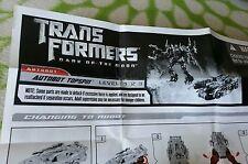 TRANSFORMERS DARK MOON AUTOBOT TOPSPIN INSTRUCTION BOOKLET