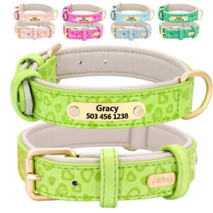 5 Colours Personalised Pet Dog Collars w/ Nameplate Engraved Small Medium Large