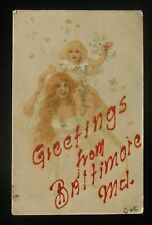 1900s Beautiful Girl Trolley ROL. PK. & ST. HEL. R.P.O. Roland Park Baltimore MD