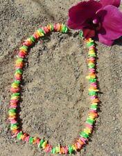 """Womens Neon Multi PUKA Shell Beads Beach Surfer Choker Necklace 17"""" Dyed"""