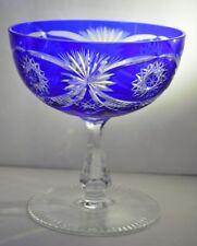Vintage Bohemian Cobalt Blue Cut to Clear Glass Pedestal Compote Bowl Fan Star