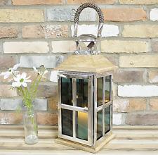 Lanterna portacandela con vetro paravento in stile vintage-shabby chic con motivo di giglio colore grigio