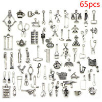 65pcs Mix Tibetan Silver Pendants Charms Spacer Beads DIY Jewelry Making Craf Pq